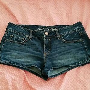 AE stretch denim shortie shorts,  8